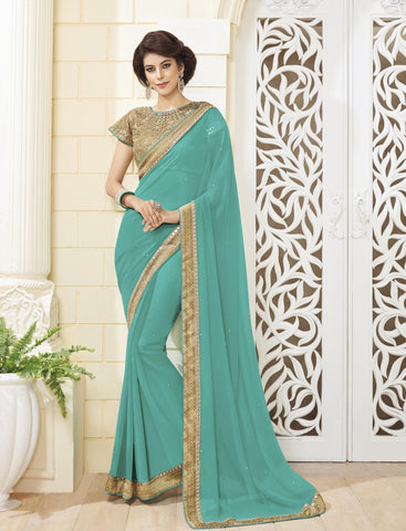 Blue Colored Georgette Zari embroidery with Mirror work and lace border Saree