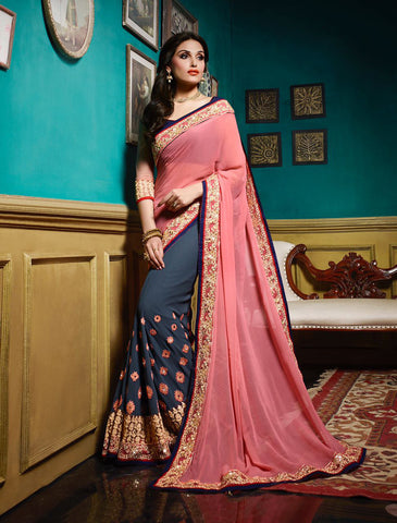 Dark Grey & Pink Colored Georgette Embroidery & Morror  Work Saree