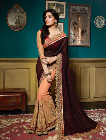 Darkest Red & Peach Colored Georgette Embroidery & Stone Work Saree