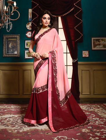 Light Pink & Dark Red Colored Georgette Embroidery Work Designer Saree