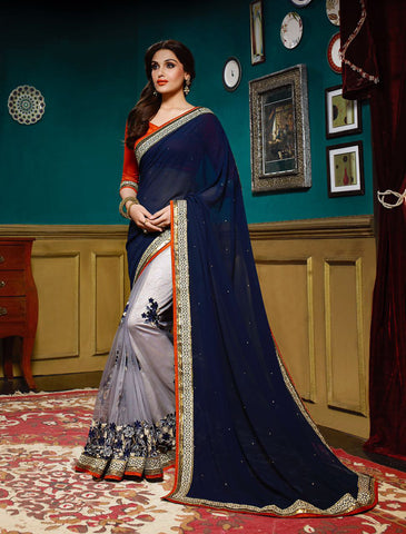 Dark Blue & Light Grey Colored Georgette & Net Embroidery & Sequins & Stone Work Saree