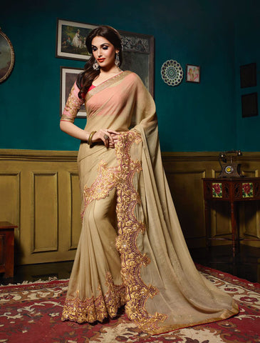Beige Colored Chiffon & Net Stone Work & Embroidery Work Saree