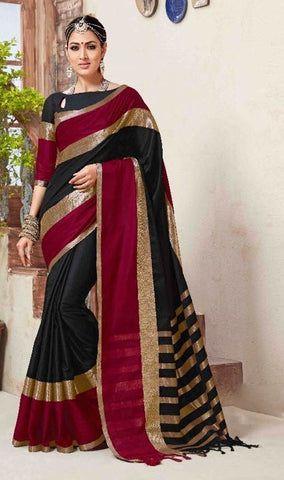 Black & Maroon Colored Silk Cotton Printed Saree With Un-Stitch Blouse.