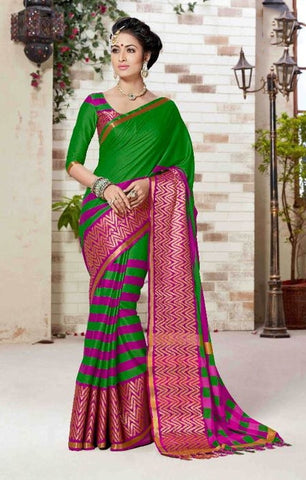 Green & Pink Colored Silk Cotton Printed Saree With Un-Stitch Blouse.