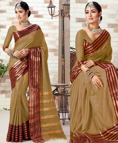 Beige Colored Silk Cotton Printed Saree With Un-Stitch Blouse.