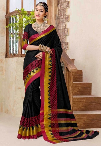 Black & Yellow Colored Silk Cotton Printed Saree With Un-Stitch Blouse.