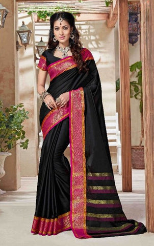 Black & Pink Colored Silk Cotton Printed Saree With Un-Stitch Blouse.