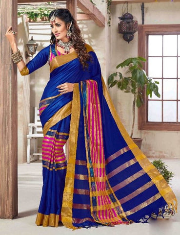 Blue & Pink Colored Silk Cotton Printed Saree With Un-Stitch Blouse.