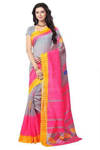 Grey & Pink Colored Bhagalpuri Silk Printed Saree With Un-Stitch Blouse