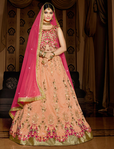 Pink Colored Melbourne Silk Embroidered Semi Stitched Lehenga Choli