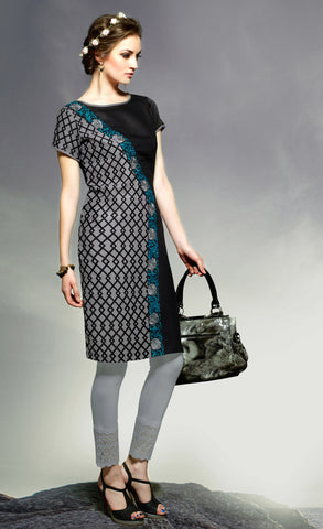 Grey & Black Colored Rayon Embroidered Stitched Kurti