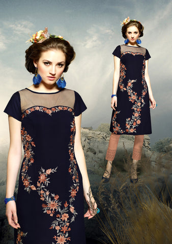 Navy Blue Colored Rayon Embroidered Stitched Kurti