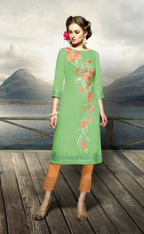 Light Green Colored Rayon Embroidered Stitched Kurti