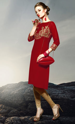 Red Colored Rayon Embroidered Stitched Kurti