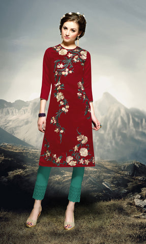 Maroon Colored Rayon Embroidered Stitched Kurti