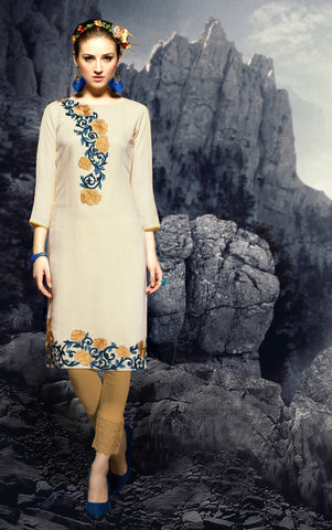 Cream Colored Rayon Embroidered Stitched Kurti