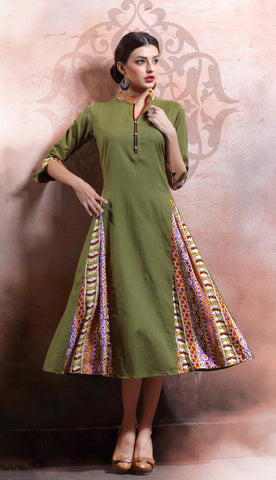 Dark Pista Green Colored Rayon Cotton & Linen Printed Stitched Kurti
