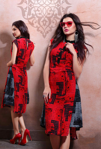 Red & Grey Colored Rayon Cotton & Linen Printed Stitched Kurti