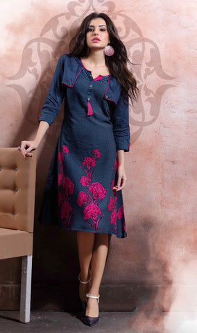 Navy Blue Colored Rayon Cotton & Linen Printed Stitched Kurti