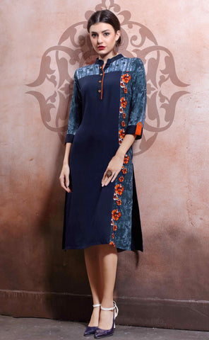 Navy Blue & Grey Colored Rayon Cotton & Linen Plain Stitched Kurti