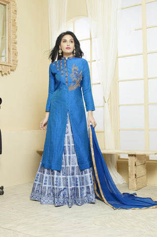 Blue Colored 2 tone Silk Embroidered & Digital Print Indo-Western Lehenga
