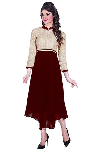 Rukhad Fashion's Georgette Brown Color Kurti
