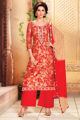 Dark Pink, Red & Beige Colored Pure Heavy Glass Cotton Print with Embroidered Un-Stitched Dress Material