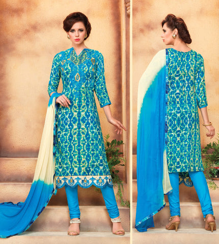 Light Blue & Cream Colored Pure Heavy Glass Cotton Print with Embroidered Un-Stitched Dress Material