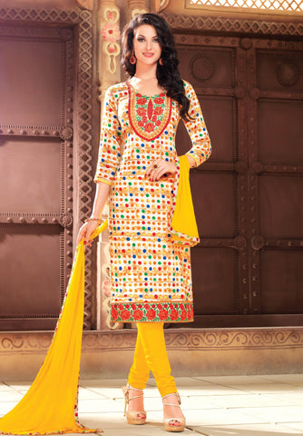 Cream Colored Pure Heavy Glass Cotton Print with Embroidered Un-Stitched Dress Material