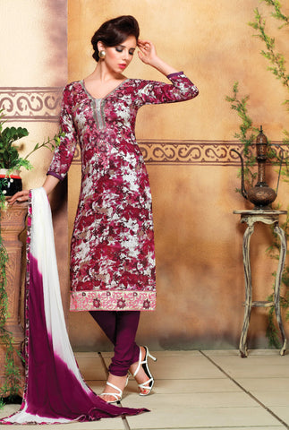 White & Magenta Colored Pure Heavy Glass Cotton Print with Embroidered Un-Stitched Dress Material