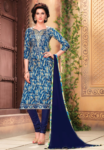 Cream & Blue Colored Pure Heavy Glass Cotton Print with Embroidered Un-Stitched Dress Material