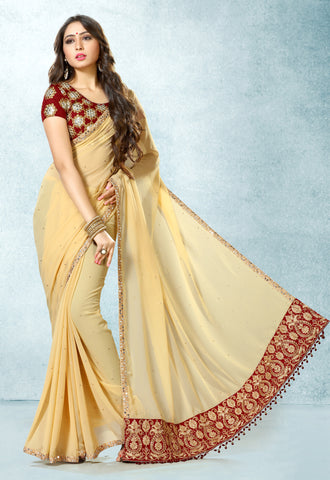 Cream & Maroon Colored Georgette Mirror Work, Hand Work & Heavy Embroidered Saree