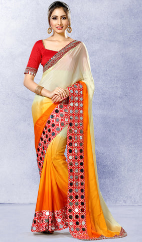 Cream & Orange Colored Pure Chinon Silk Mirror Work & Heavy Embroidered Saree