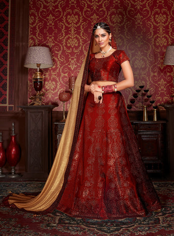 Maroon Colored Silk Heavy Embroidered Semi Stitched Lehenga Choli