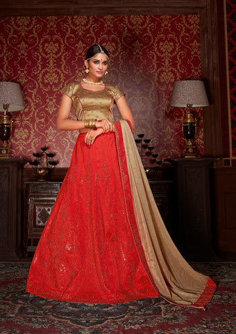 Red Colored Silk Heavy Embroidered Semi Stitched Lehenga Choli