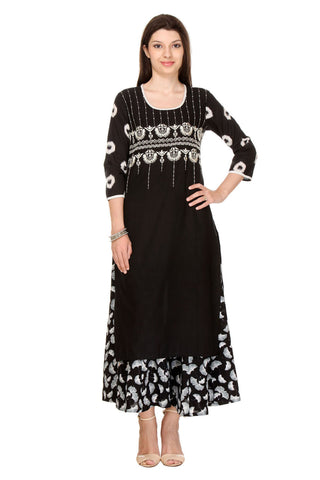 Black  Colored Flex (Cotton Blend) Embroidered Stitched Kurti