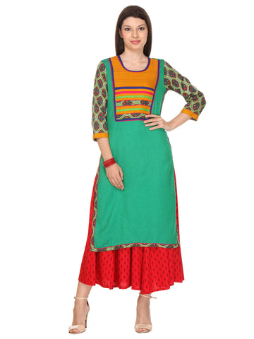 Green Colored Flex (Cotton Blend) Plain Stitched Kurti