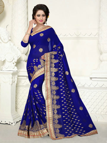 Multi Colored Georgette Heavy Embroidery With Jari Work Saree