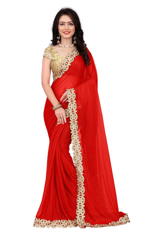 Multi Colored Lycra Embroidery Lace Work Saree