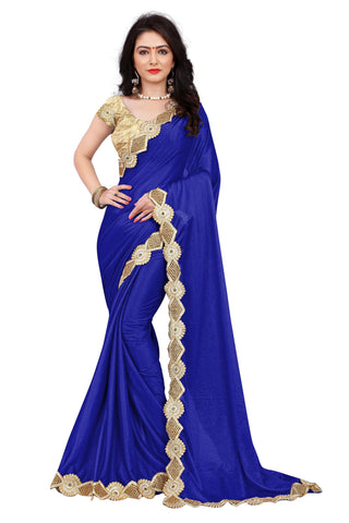 Multi Colored Lycra Embroidery Lace Work Saree With Blouse