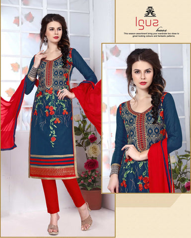 Peacock Blue Colored Pure Heavy Glass Cotton Embroidered Un-Stitched Dress Material