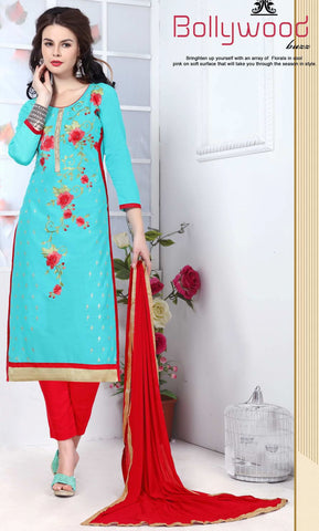 Sky Blue Colored Pure Heavy Glass Cotton Embroidered Un-Stitched Dress Material
