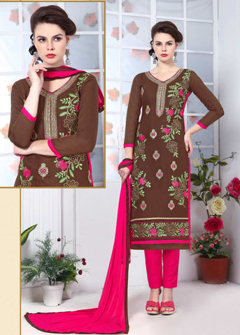 Brown Colored Pure Heavy Glass Cotton Embroidered Un-Stitched Dress Material