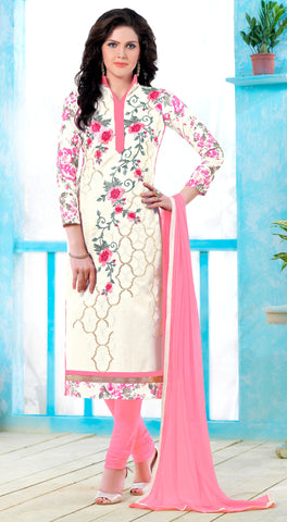 White Colored Pure Heavy Glass Cotton Embroidered Un-Stitched Dress Material