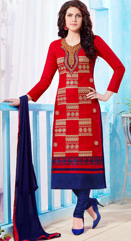 Red Colored Pure Heavy Glass Cotton Embroidered Un-Stitched Dress Material