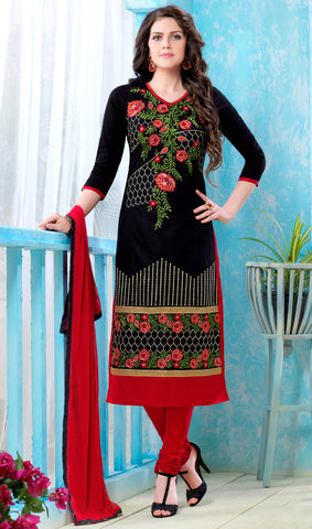 Black Colored Pure Heavy Glass Cotton Embroidered Un-Stitched Dress Material