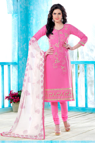 Light Pink Colored Pure Heavy Glass Cotton Embroidered Un-Stitched Dress Material