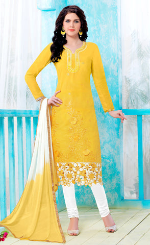 Yellow Colored Pure Heavy Glass Cotton Embroidered Un-Stitched Dress Material