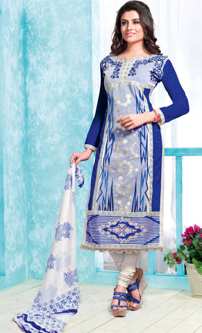 Blue & Grey Colored Pure Heavy Glass Cotton Embroidered Un-Stitched Dress Material