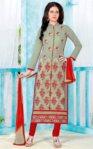 Beige Colored Pure Heavy Glass Cotton Embroidered Un-Stitched Dress Material
